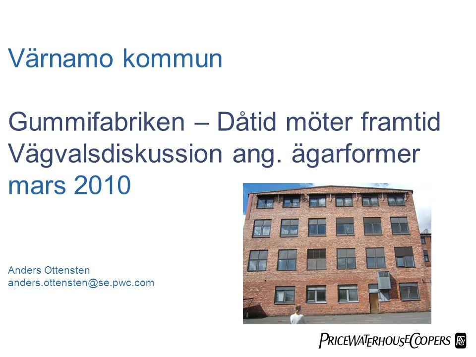  Värnamo kommun Gummifabriken – Dåtid möter framtid Vägvalsdiskussion ang.