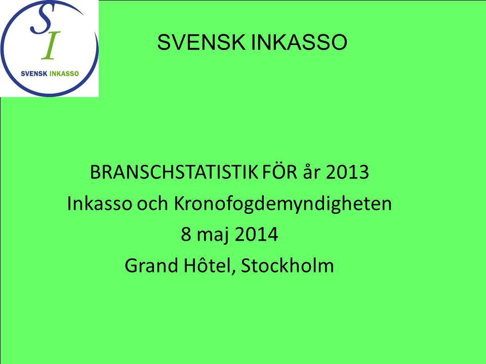 BRANSCHSTATISTIK FÖR år 2013 Inkasso och Kronofogdemyndigheten 8 maj 2014 Grand Hôtel, Stockholm SVENSK INKASSO
