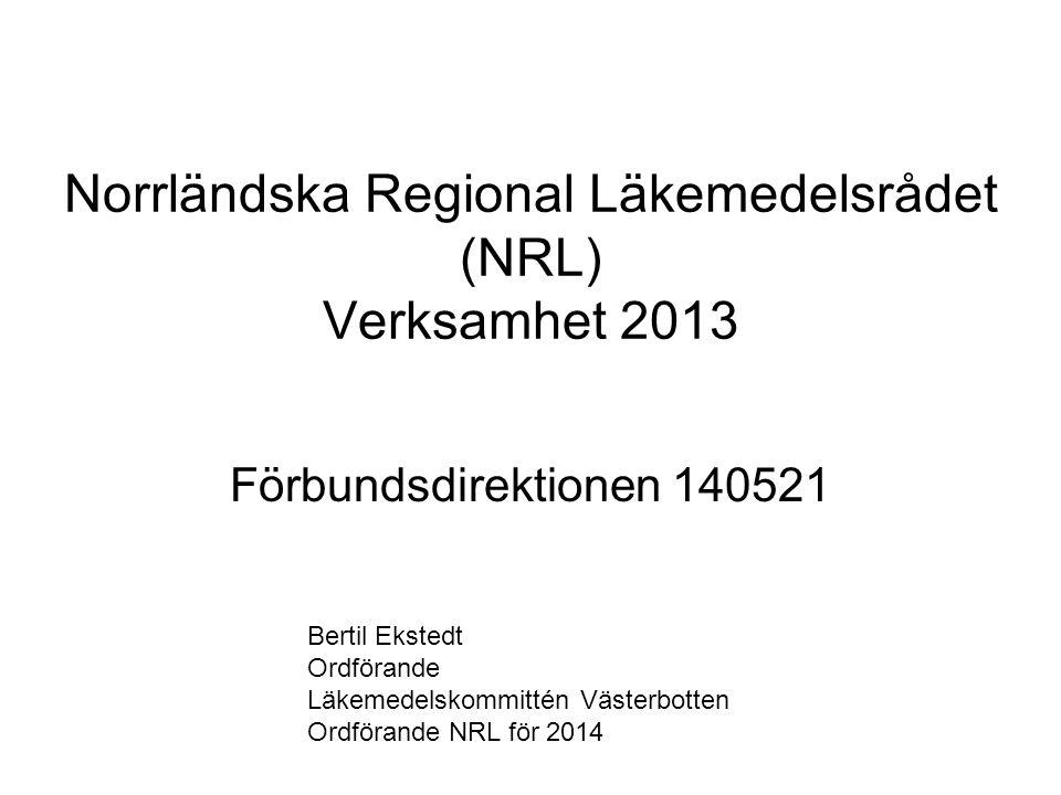 Norrländska Regional Läkemedelsrådet (NRL) Verksamhet 2013 Förbundsdirektionen 140521 Bertil Ekstedt Ordförande Läkemedelskommittén Västerbotten Ordfö