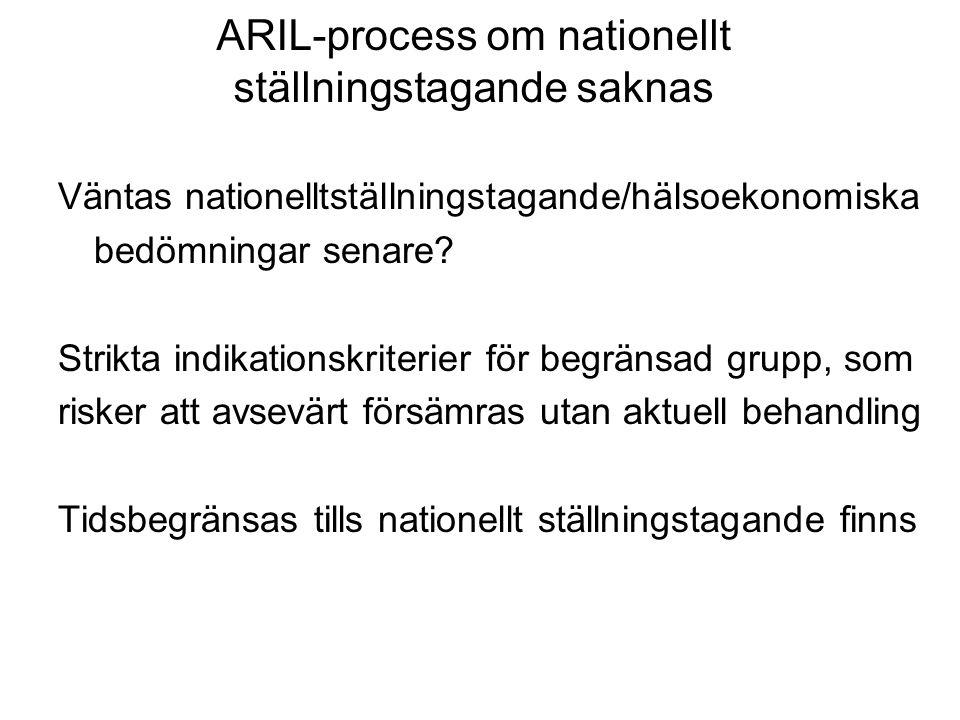 ARIL-process om nationellt ställningstagande saknas Väntas nationelltställningstagande/hälsoekonomiska bedömningar senare? Strikta indikationskriterie