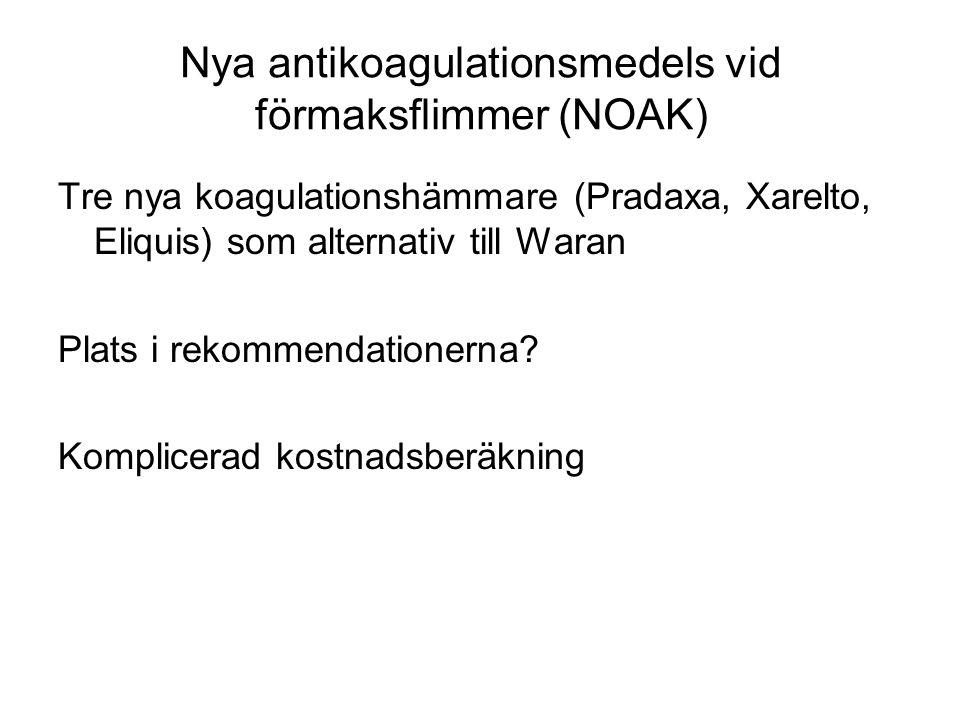 Nya antikoagulationsmedels vid förmaksflimmer (NOAK) Tre nya koagulationshämmare (Pradaxa, Xarelto, Eliquis) som alternativ till Waran Plats i rekomme
