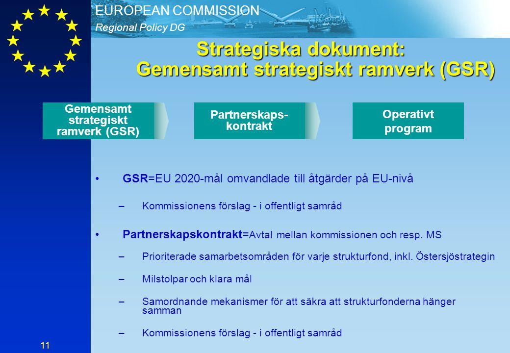 Regional Policy DG EUROPEAN COMMISSION 11 Strategiska dokument: Gemensamt strategiskt ramverk (GSR) GSR=EU 2020-mål omvandlade till åtgärder på EU-nivå –Kommissionens förslag - i offentligt samråd Partnerskapskontrakt= Avtal mellan kommissionen och resp.