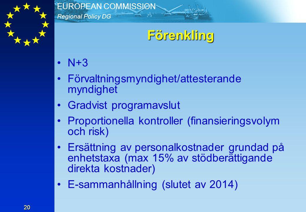 Regional Policy DG EUROPEAN COMMISSION 20 Förenkling N+3 Förvaltningsmyndighet/attesterande myndighet Gradvist programavslut Proportionella kontroller (finansieringsvolym och risk) Ersättning av personalkostnader grundad på enhetstaxa (max 15% av stödberättigande direkta kostnader) E-sammanhållning (slutet av 2014)