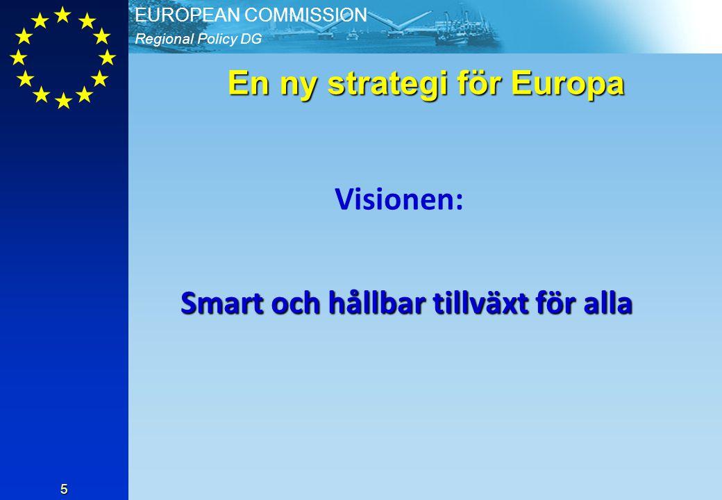 Regional Policy DG EUROPEAN COMMISSION 5 En ny strategi för Europa Visionen: Smart och hållbar tillväxt för alla