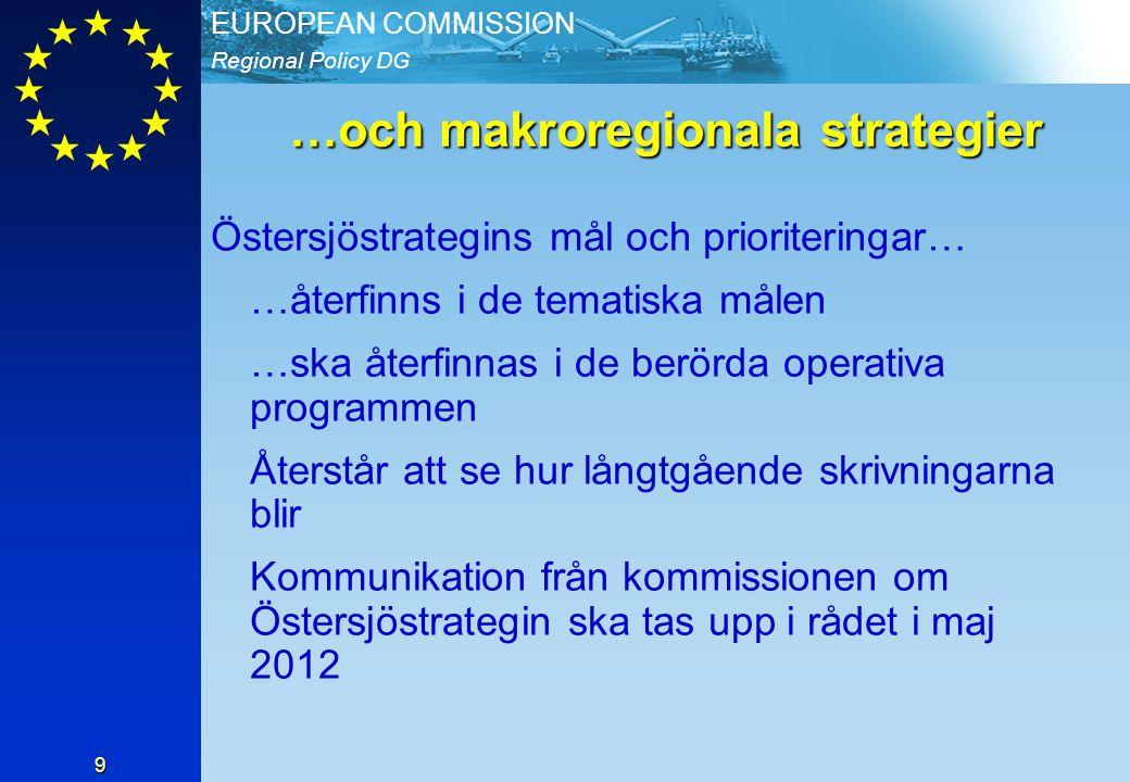 Regional Policy DG EUROPEAN COMMISSION 9 …och makroregionala strategier Östersjöstrategins mål och prioriteringar… …återfinns i de tematiska målen …ska återfinnas i de berörda operativa programmen Återstår att se hur långtgående skrivningarna blir Kommunikation från kommissionen om Östersjöstrategin ska tas upp i rådet i maj 2012