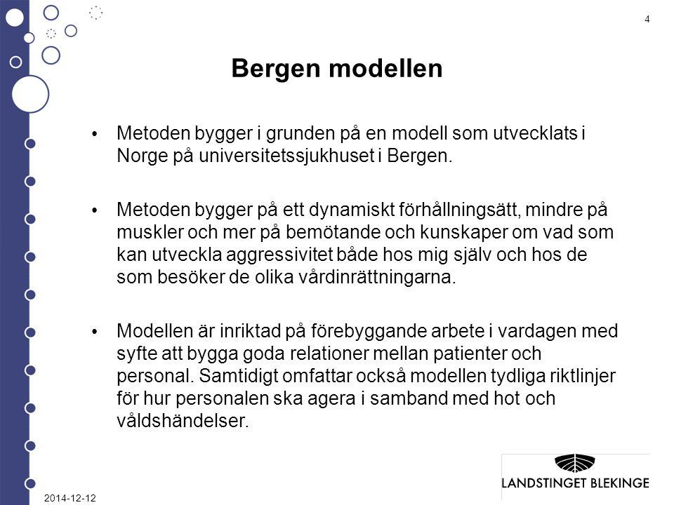 4 Bergen modellen Metoden bygger i grunden på en modell som utvecklats i Norge på universitetssjukhuset i Bergen.