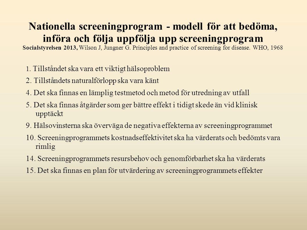 Nationella screeningprogram - modell för att bedöma, införa och följa uppfölja upp screeningprogram Socialstyrelsen 2013, Wilson J, Jungner G. Princip