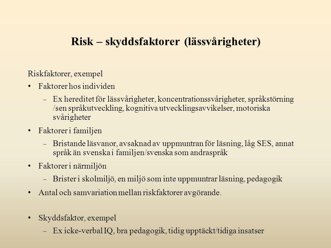 Risk – skyddsfaktorer (lässvårigheter) Riskfaktorer, exempel Faktorer hos individen  Ex hereditet för lässvårigheter, koncentrationssvårigheter, språ