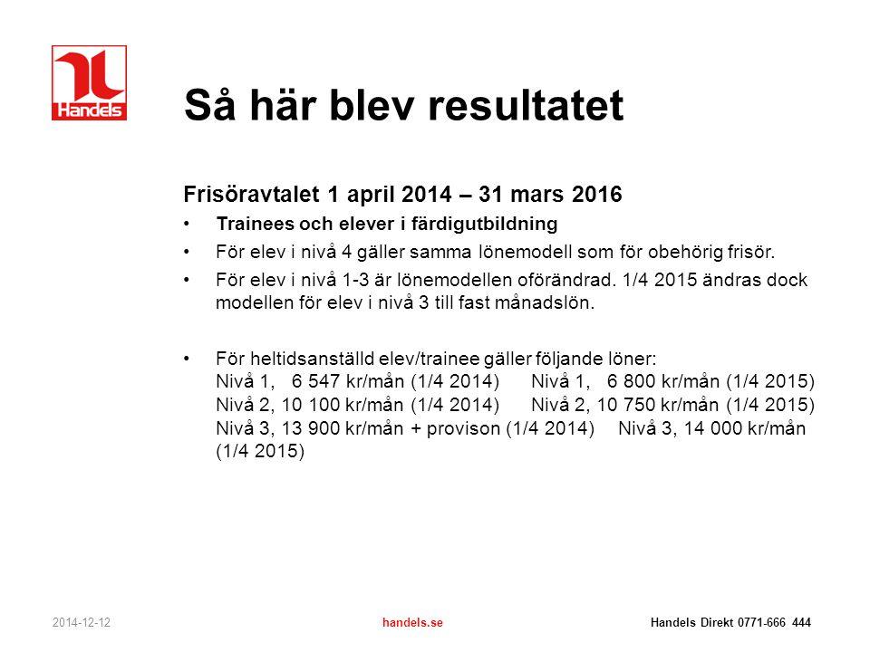 Så här blev resultatet 2014-12-12handels.se Handels Direkt 0771-666 444 Frisöravtalet 1 april 2014 – 31 mars 2016 Trainees och elever i färdigutbildni