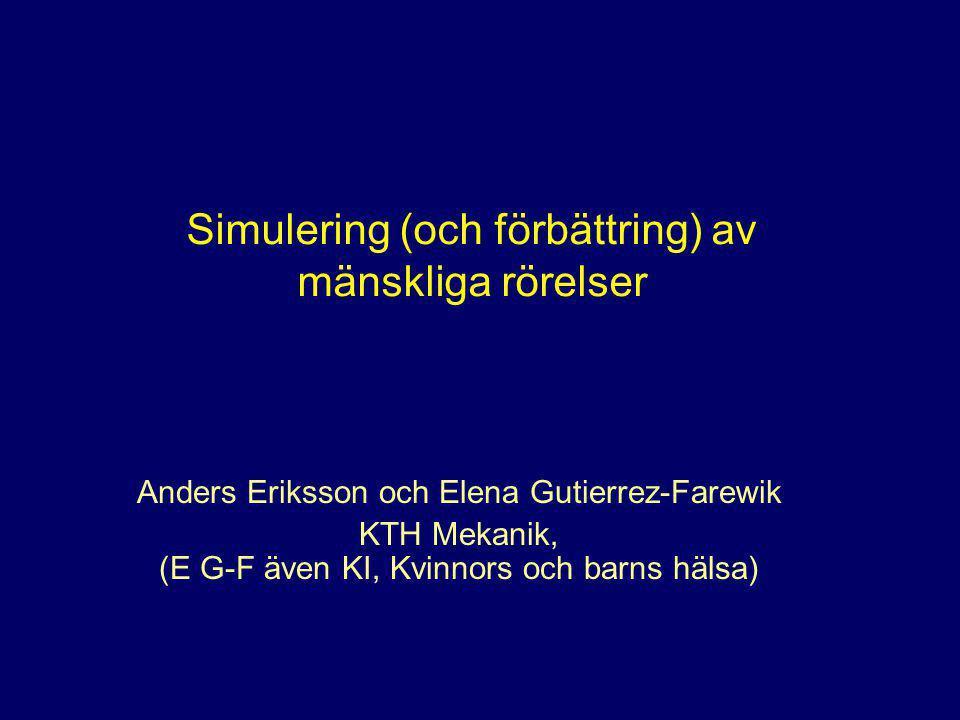 Simulering (och förbättring) av mänskliga rörelser Anders Eriksson och Elena Gutierrez-Farewik KTH Mekanik, (E G-F även KI, Kvinnors och barns hälsa)