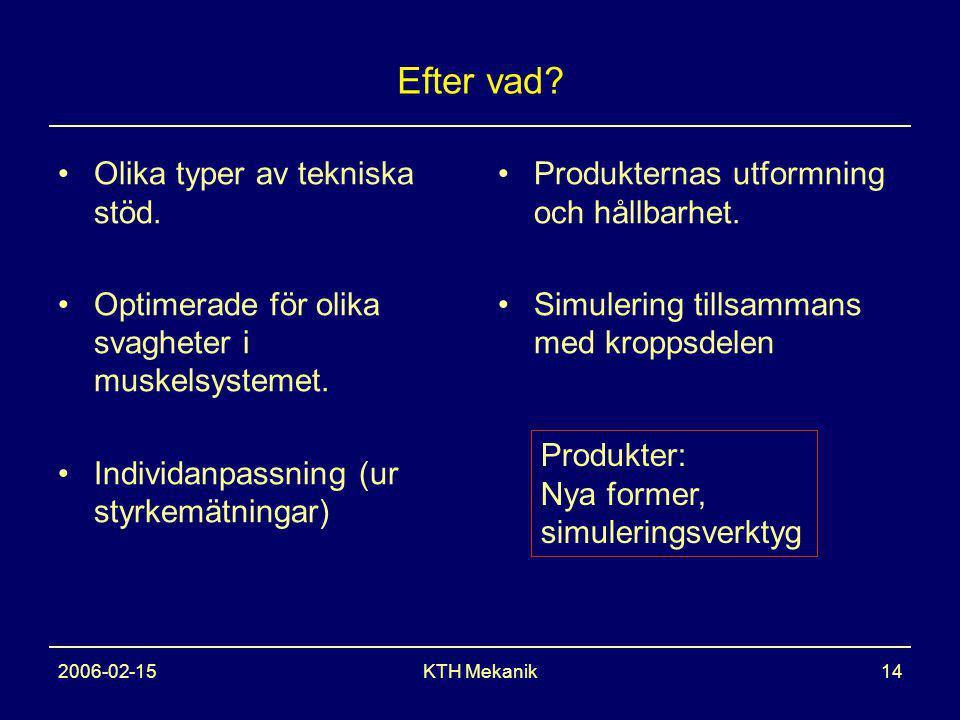 2006-02-15KTH Mekanik14 Efter vad. Olika typer av tekniska stöd.