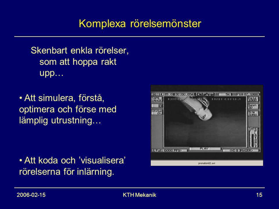 2006-02-15KTH Mekanik15 Komplexa rörelsemönster Skenbart enkla rörelser, som att hoppa rakt upp… Att simulera, förstå, optimera och förse med lämplig utrustning… Att koda och 'visualisera' rörelserna för inlärning.