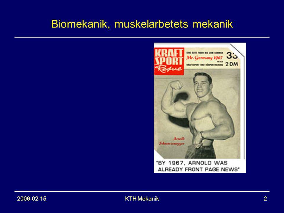 2006-02-15KTH Mekanik2 Biomekanik, muskelarbetets mekanik