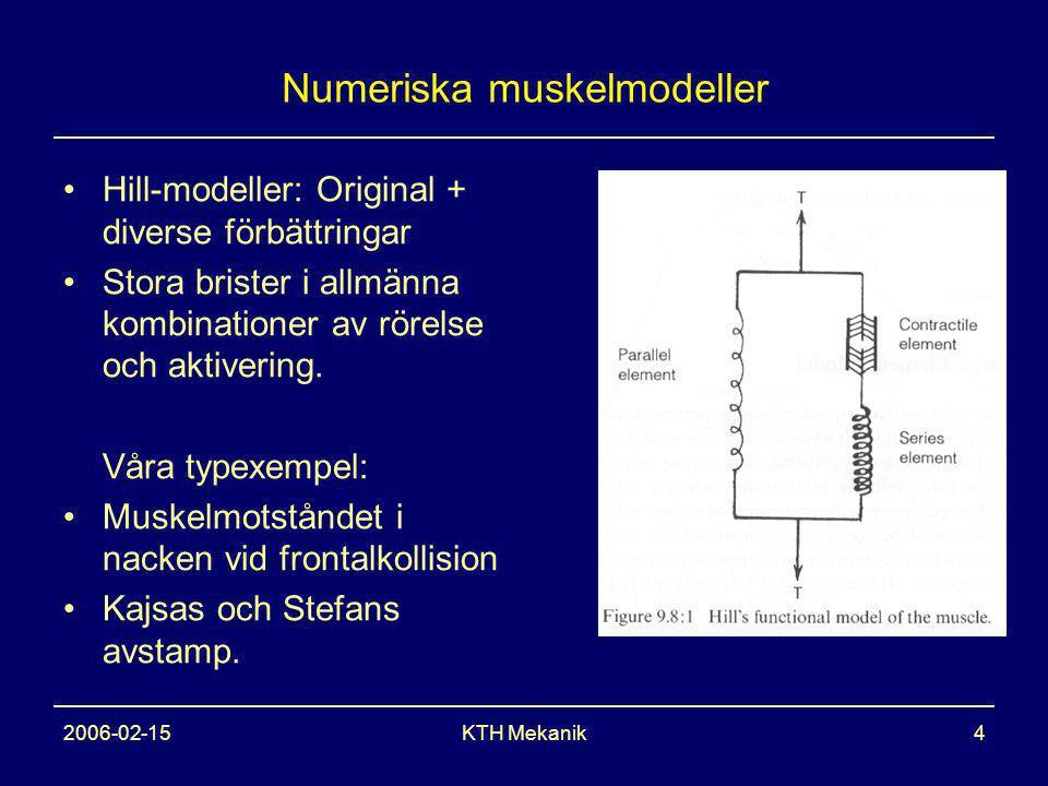 2006-02-15KTH Mekanik4 Numeriska muskelmodeller Hill-modeller: Original + diverse förbättringar Stora brister i allmänna kombinationer av rörelse och aktivering.