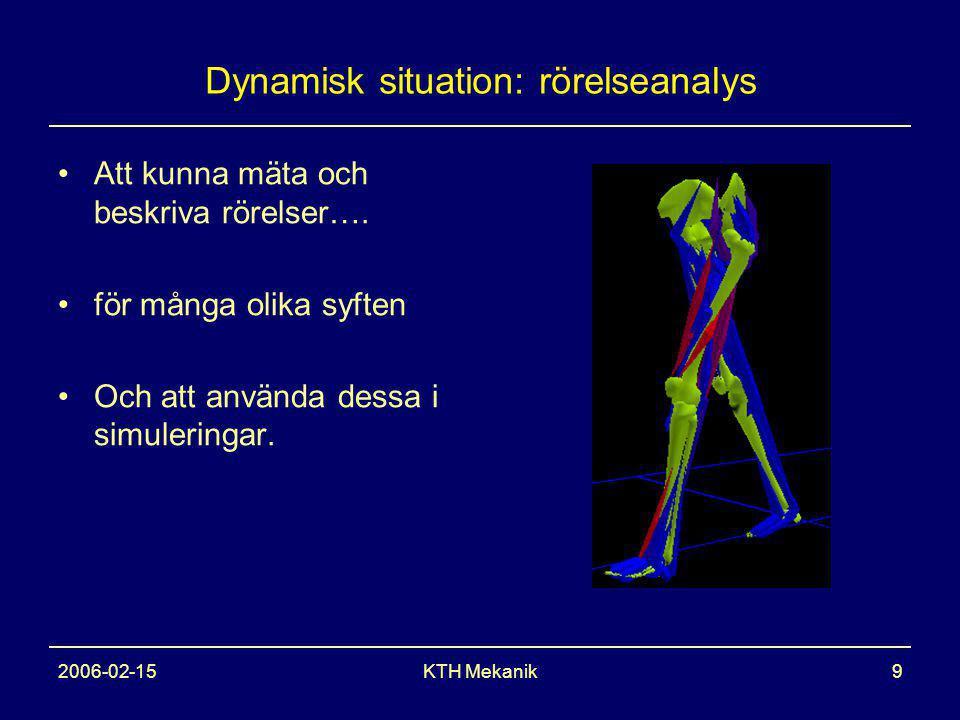 2006-02-15KTH Mekanik9 Dynamisk situation: rörelseanalys Att kunna mäta och beskriva rörelser….