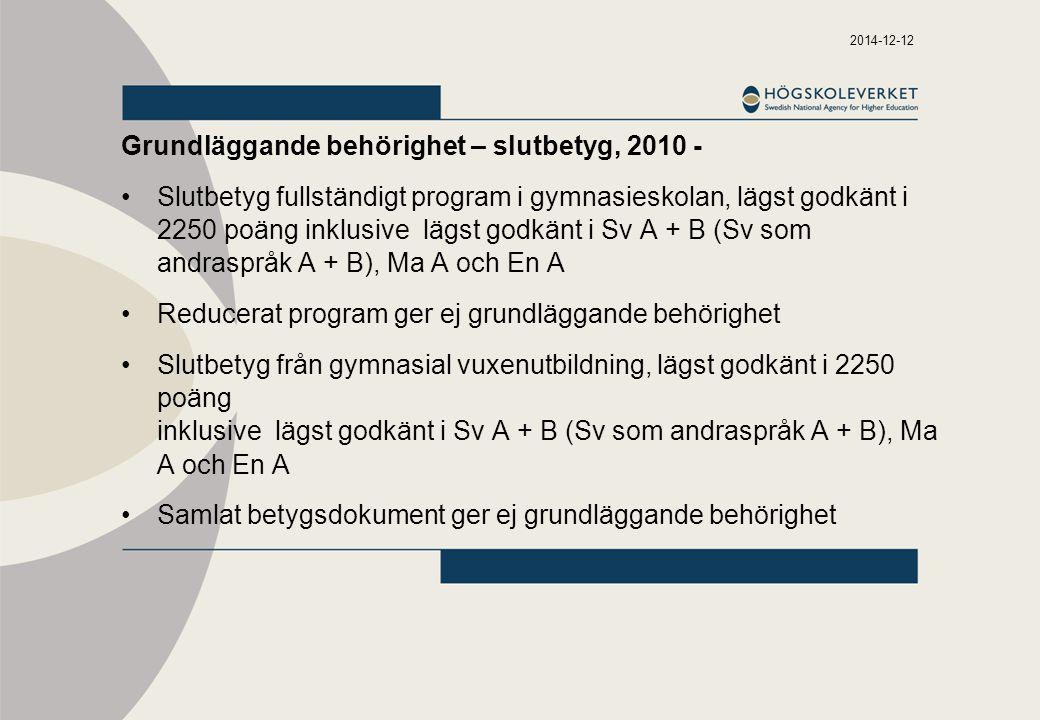 2014-12-12 Grundläggande behörighet – slutbetyg, 2010 - Slutbetyg fullständigt program i gymnasieskolan, lägst godkänt i 2250 poäng inklusive lägst godkänt i Sv A + B (Sv som andraspråk A + B), Ma A och En A Reducerat program ger ej grundläggande behörighet Slutbetyg från gymnasial vuxenutbildning, lägst godkänt i 2250 poäng inklusive lägst godkänt i Sv A + B (Sv som andraspråk A + B), Ma A och En A Samlat betygsdokument ger ej grundläggande behörighet