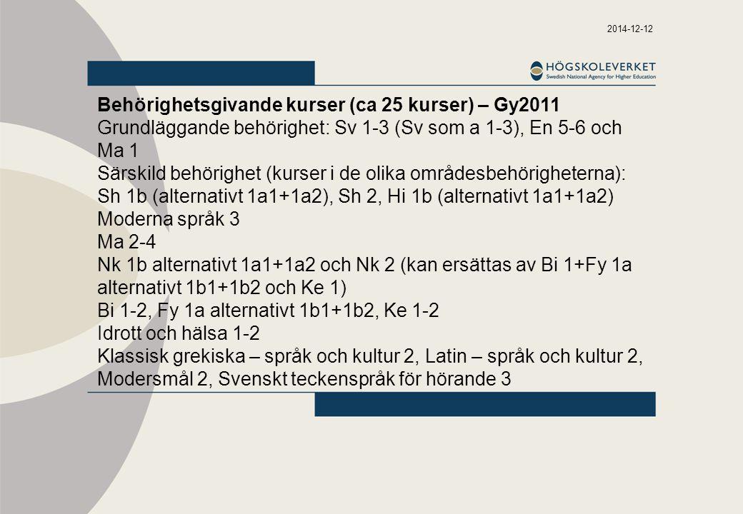 2014-12-12 Behörighetsgivande kurser (ca 25 kurser) – Gy2011 Grundläggande behörighet: Sv 1-3 (Sv som a 1-3), En 5-6 och Ma 1 Särskild behörighet (kurser i de olika områdesbehörigheterna): Sh 1b (alternativt 1a1+1a2), Sh 2, Hi 1b (alternativt 1a1+1a2) Moderna språk 3 Ma 2-4 Nk 1b alternativt 1a1+1a2 och Nk 2 (kan ersättas av Bi 1+Fy 1a alternativt 1b1+1b2 och Ke 1) Bi 1-2, Fy 1a alternativt 1b1+1b2, Ke 1-2 Idrott och hälsa 1-2 Klassisk grekiska – språk och kultur 2, Latin – språk och kultur 2, Modersmål 2, Svenskt teckenspråk för hörande 3