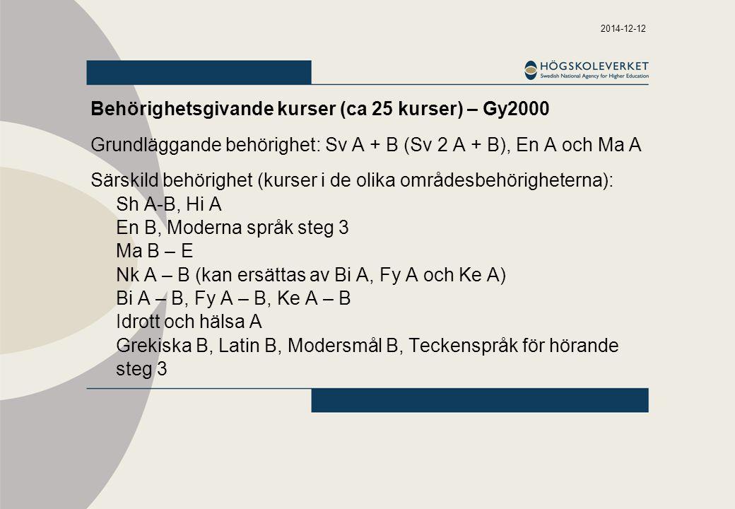 2014-12-12 Behörighetsgivande kurser (ca 25 kurser) – Gy2000 Grundläggande behörighet: Sv A + B (Sv 2 A + B), En A och Ma A Särskild behörighet (kurser i de olika områdesbehörigheterna): Sh A-B, Hi A En B, Moderna språk steg 3 Ma B – E Nk A – B (kan ersättas av Bi A, Fy A och Ke A) Bi A – B, Fy A – B, Ke A – B Idrott och hälsa A Grekiska B, Latin B, Modersmål B, Teckenspråk för hörande steg 3