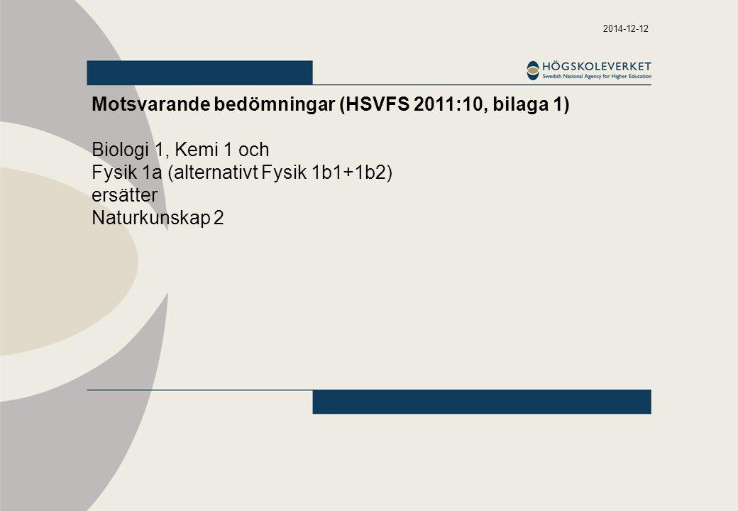 2014-12-12 Motsvarande bedömningar (HSVFS 2011:10, bilaga 1) Biologi 1, Kemi 1 och Fysik 1a (alternativt Fysik 1b1+1b2) ersätter Naturkunskap 2
