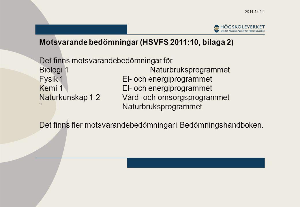 2014-12-12 Motsvarande bedömningar (HSVFS 2011:10, bilaga 2) Det finns motsvarandebedömningar för Biologi 1Naturbruksprogrammet Fysik 1El- och energiprogrammet Kemi 1El- och energiprogrammet Naturkunskap 1-2Vård- och omsorgsprogrammet Naturbruksprogrammet Det finns fler motsvarandebedömningar i Bedömningshandboken.
