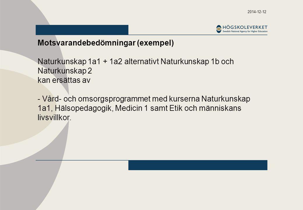 2014-12-12 Motsvarandebedömningar (exempel) Naturkunskap 1a1 + 1a2 alternativt Naturkunskap 1b och Naturkunskap 2 kan ersättas av - Vård- och omsorgsp