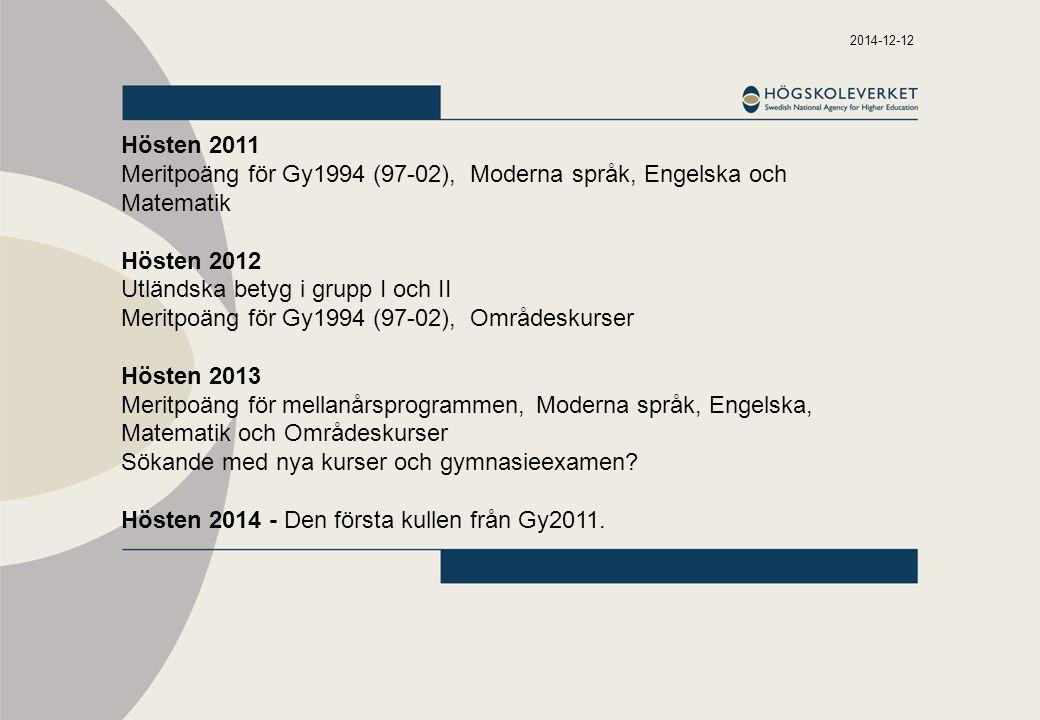 2014-12-12 Hösten 2011 Meritpoäng för Gy1994 (97-02), Moderna språk, Engelska och Matematik Hösten 2012 Utländska betyg i grupp I och II Meritpoäng fö