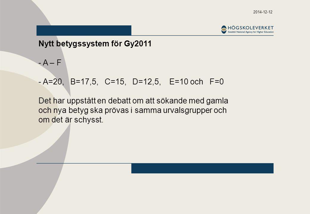 2014-12-12 Nytt betygssystem för Gy2011 - A – F - A=20, B=17,5, C=15, D=12,5, E=10 och F=0 Det har uppstått en debatt om att sökande med gamla och nya betyg ska prövas i samma urvalsgrupper och om det är schysst.