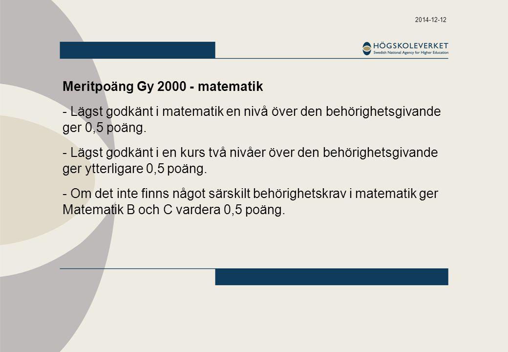 2014-12-12 Meritpoäng Gy 2000 - matematik - Lägst godkänt i matematik en nivå över den behörighetsgivande ger 0,5 poäng. - Lägst godkänt i en kurs två