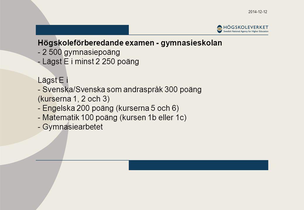 2014-12-12 Högskoleförberedande examen - gymnasieskolan - 2 500 gymnasiepoäng - Lägst E i minst 2 250 poäng Lägst E i - Svenska/Svenska som andraspråk