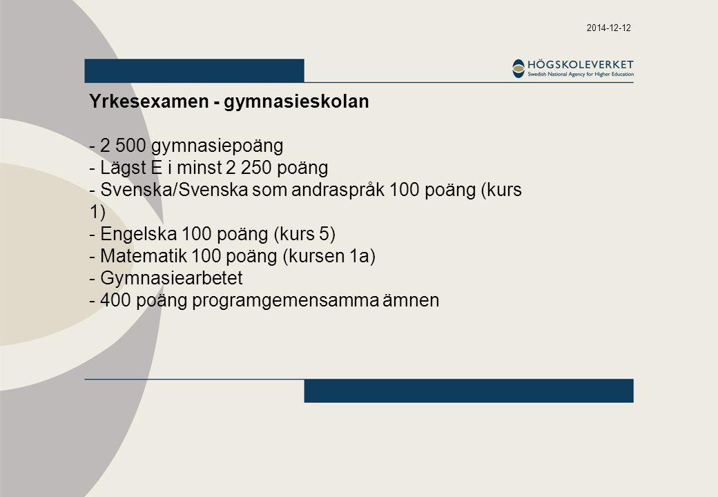 2014-12-12 Yrkesexamen - gymnasieskolan - 2 500 gymnasiepoäng - Lägst E i minst 2 250 poäng - Svenska/Svenska som andraspråk 100 poäng (kurs 1) - Engelska 100 poäng (kurs 5) - Matematik 100 poäng (kursen 1a) - Gymnasiearbetet - 400 poäng programgemensamma ämnen