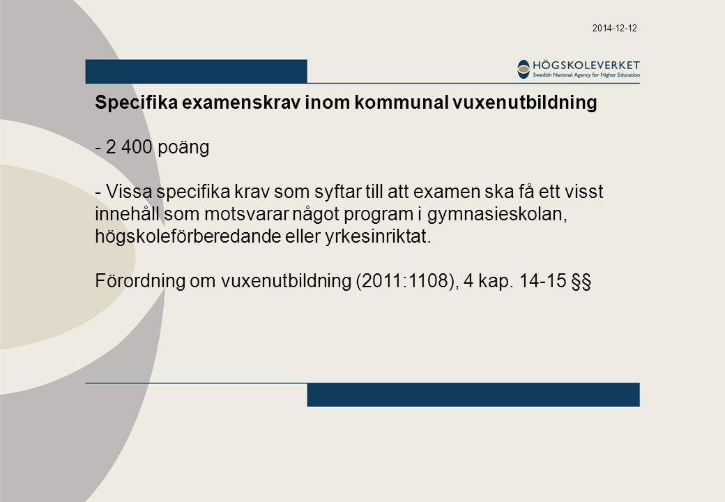 2014-12-12 Högskoleförordningen 7 kap.