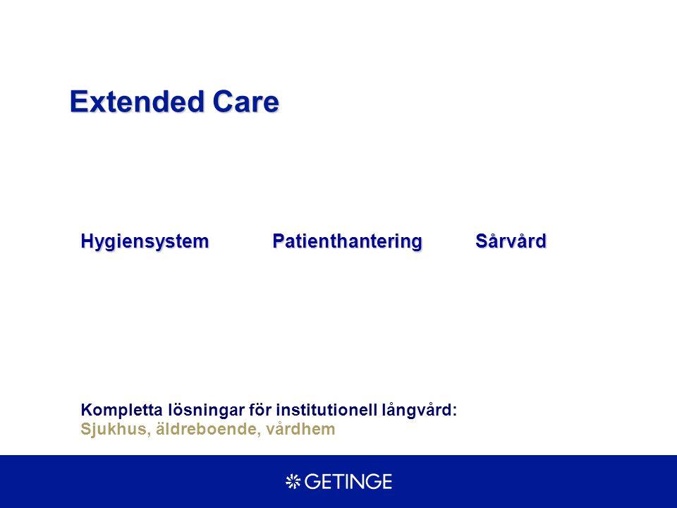 HygiensystemPatienthanteringWound Care Marknads- 1 400 Mkr1 700 Mkr 8 000 Mkr andelar Tillväxt 5 - 7 %8 - 10 %8 - 10 % Getinge 55 %Getinge 39%Hillrom US 25% Sakai JP 8 % Liko SE 7%KNCI US 20% Chiltern UK 4%Guldman DK 5%Huntleigh UK 7% Getinge 6% Extended Care