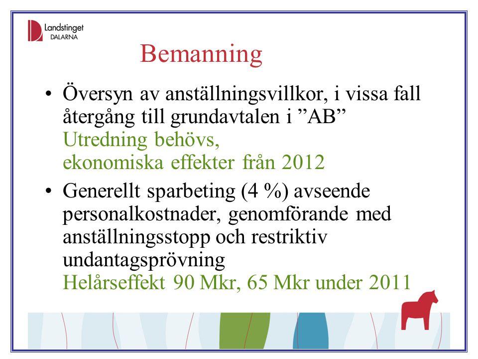 """Bemanning Översyn av anställningsvillkor, i vissa fall återgång till grundavtalen i """"AB"""" Utredning behövs, ekonomiska effekter från 2012 Generellt spa"""