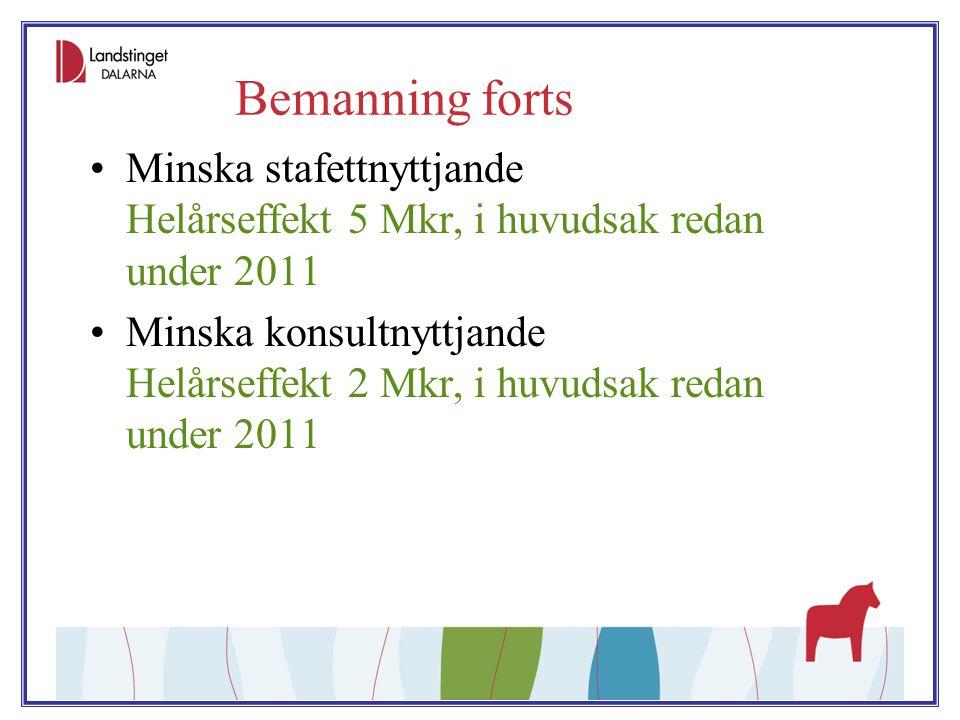 Bemanning forts Minska stafettnyttjande Helårseffekt 5 Mkr, i huvudsak redan under 2011 Minska konsultnyttjande Helårseffekt 2 Mkr, i huvudsak redan u