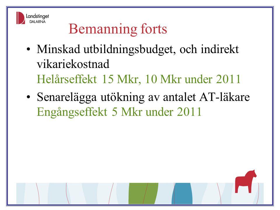 Bemanning forts Minskad utbildningsbudget, och indirekt vikariekostnad Helårseffekt 15 Mkr, 10 Mkr under 2011 Senarelägga utökning av antalet AT-läkar