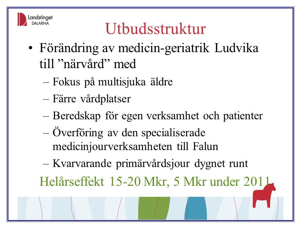 """Utbudsstruktur Förändring av medicin-geriatrik Ludvika till """"närvård"""" med –Fokus på multisjuka äldre –Färre vårdplatser –Beredskap för egen verksamhet"""