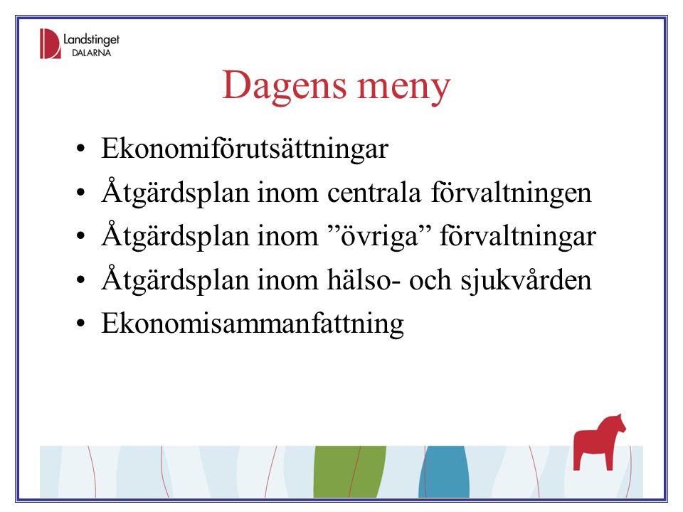"""Dagens meny Ekonomiförutsättningar Åtgärdsplan inom centrala förvaltningen Åtgärdsplan inom """"övriga"""" förvaltningar Åtgärdsplan inom hälso- och sjukvår"""