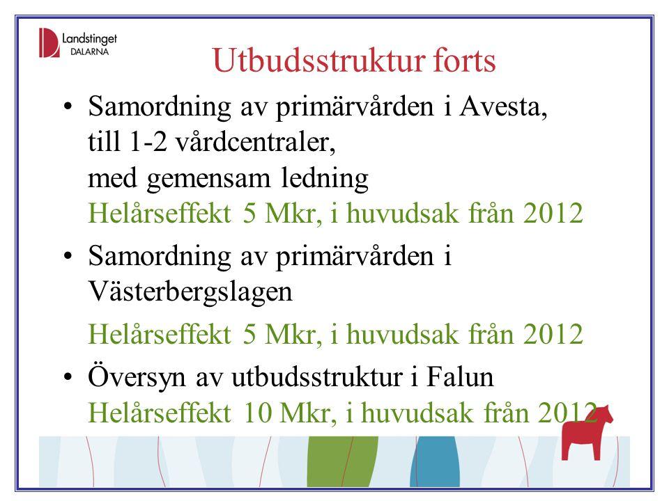 Utbudsstruktur forts Samordning av primärvården i Avesta, till 1-2 vårdcentraler, med gemensam ledning Helårseffekt 5 Mkr, i huvudsak från 2012 Samord