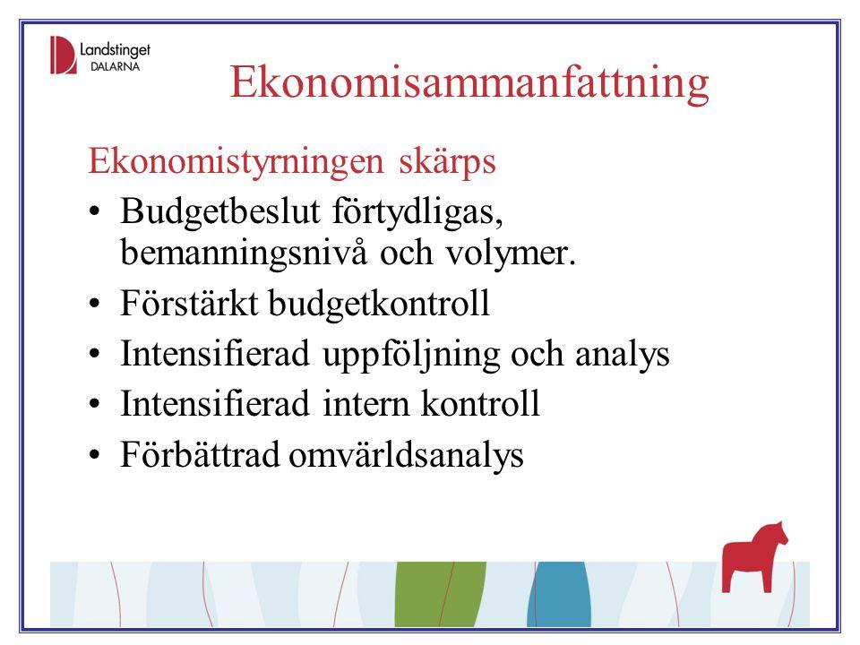 Ekonomisammanfattning Ekonomistyrningen skärps Budgetbeslut förtydligas, bemanningsnivå och volymer. Förstärkt budgetkontroll Intensifierad uppföljnin