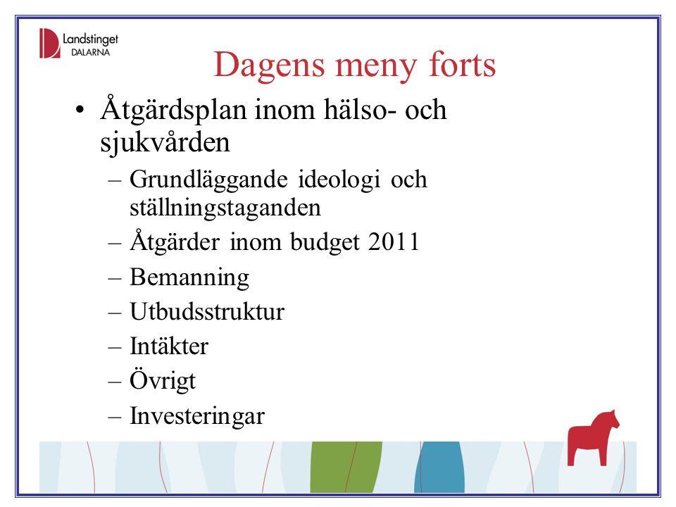 Dagens meny forts Åtgärdsplan inom hälso- och sjukvården –Grundläggande ideologi och ställningstaganden –Åtgärder inom budget 2011 –Bemanning –Utbudss