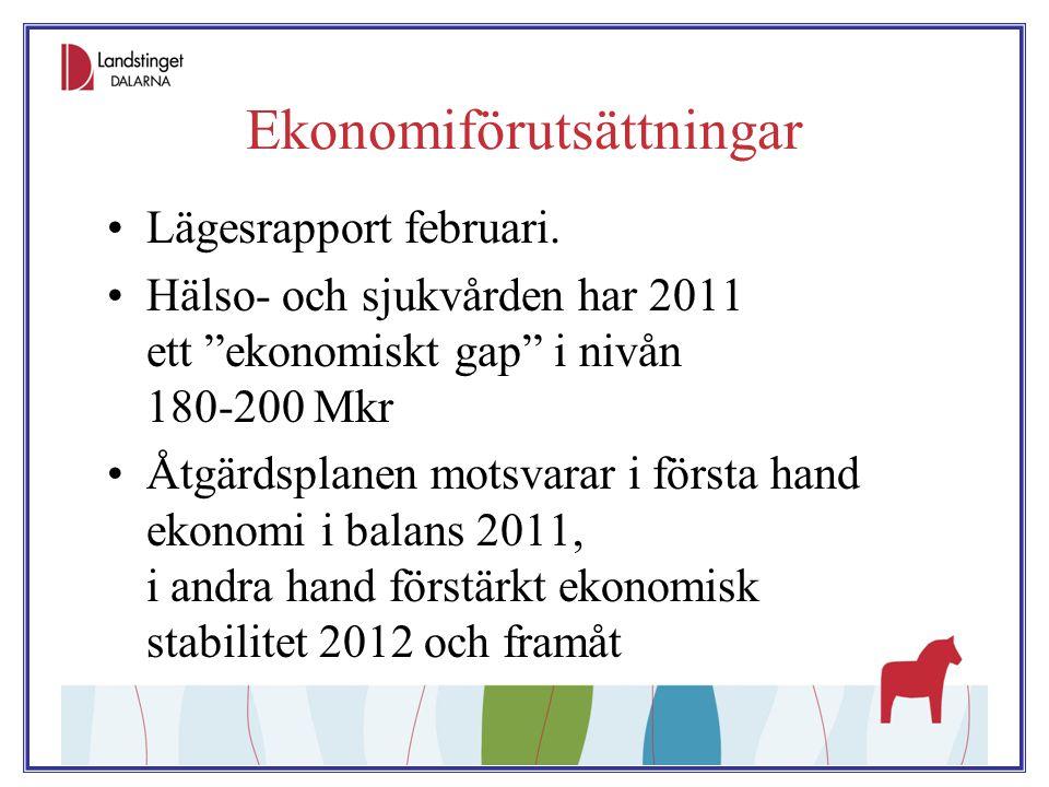 """Ekonomiförutsättningar Lägesrapport februari. Hälso- och sjukvården har 2011 ett """"ekonomiskt gap"""" i nivån 180-200 Mkr Åtgärdsplanen motsvarar i första"""