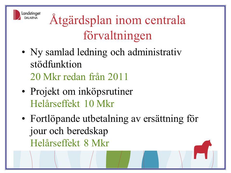Åtgärdsplan inom centrala förvaltningen Ny samlad ledning och administrativ stödfunktion 20 Mkr redan från 2011 Projekt om inköpsrutiner Helårseffekt
