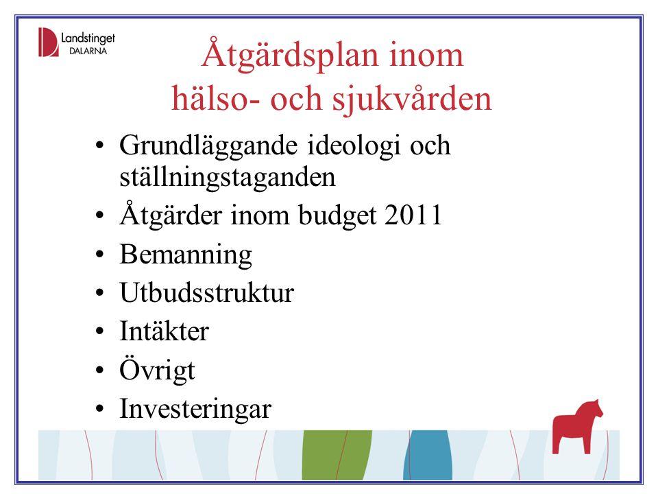 Åtgärdsplan inom hälso- och sjukvården Grundläggande ideologi och ställningstaganden Åtgärder inom budget 2011 Bemanning Utbudsstruktur Intäkter Övrig