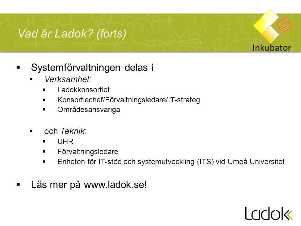  Systemförvaltningen delas i  Verksamhet:  Ladokkonsortiet  Konsortiechef/Förvaltningsledare/IT-strateg  Områdesansvariga  och Teknik:  UHR  Förvaltningsledare  Enheten för IT-stöd och systemutveckling (ITS) vid Umeå Universitet  Läs mer på www.ladok.se.