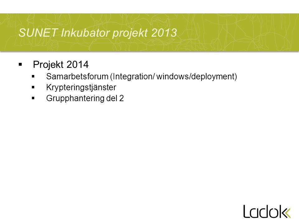 13.00 - 13.15; Välkomna och Inledning (Per och Ulrika) -Vad händer i SUNETs Inkubator.