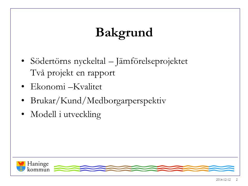 2014-12-12 2 Bakgrund Södertörns nyckeltal – Jämförelseprojektet Två projekt en rapport Ekonomi –Kvalitet Brukar/Kund/Medborgarperspektiv Modell i utv