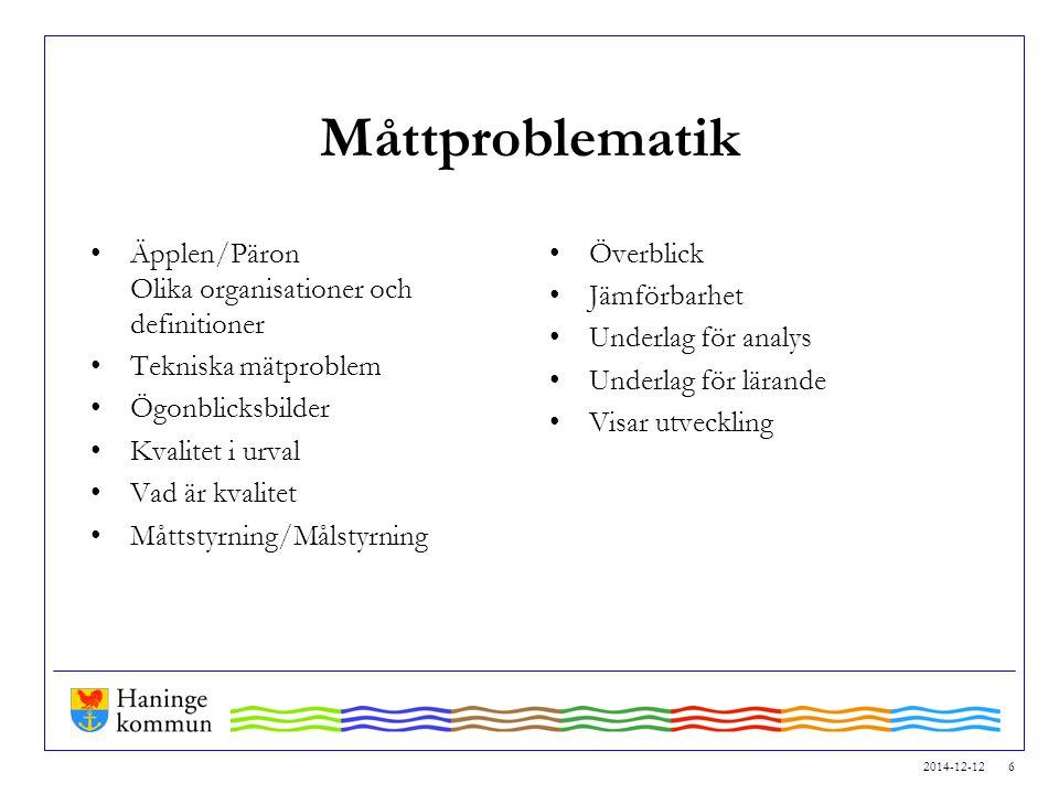 2014-12-12 6 Måttproblematik Äpplen/Päron Olika organisationer och definitioner Tekniska mätproblem Ögonblicksbilder Kvalitet i urval Vad är kvalitet