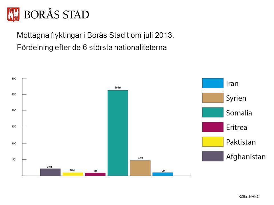 Mottagna flyktingar i Borås Stad t om juli 2013. Fördelning efter de 6 största nationaliteterna Källa: BREC