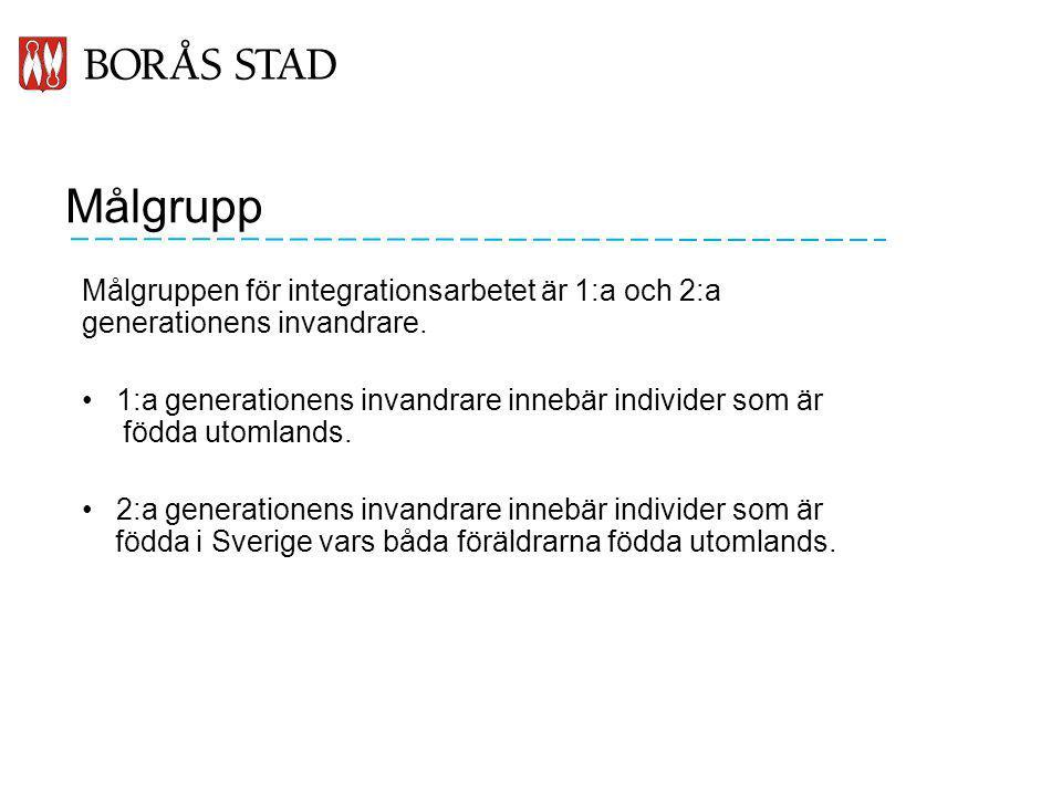 Målgrupp Målgruppen för integrationsarbetet är 1:a och 2:a generationens invandrare. 1:a generationens invandrare innebär individer som är födda utoml