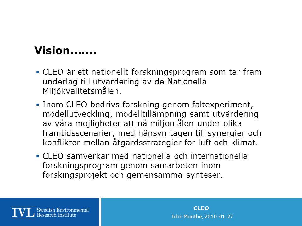 CLEO John Munthe, 2010-01-27 Vision.......  CLEO är ett nationellt forskningsprogram som tar fram underlag till utvärdering av de Nationella Miljökva